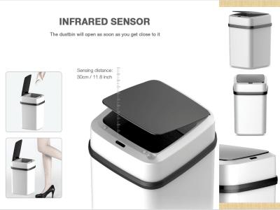 Cubo de basura inteligente, Sensor inteligente automático. Detector de movimiento de tapa, Ahorro energía, Sin ruido, Capacidad de 10L, Baño, Dormitorio, Oficina, Sin contacto, Alta capacidad con tapa