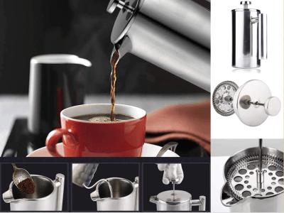 Cafetera de prensa francesa de 1000ml, prensa de café con doble pared aislada para el hogar y la oficina, extracción de filtro de cafetera con aislamiento de acero inoxidable, acabado de espejo