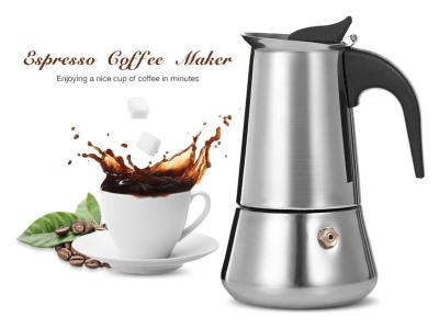Cafetera Moka de acero inoxidable, cafetera expreso para cocina, cafetera italiana con capacidad de 450 ml (taza de expreso = 50ml), cafetera clásica