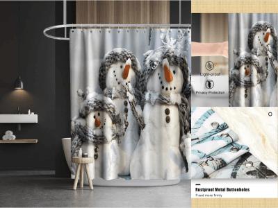 Cortina de ducha de muñeco de nieve navideño, accesorios de baño, lavable a máquina, Dibujo muñeco nieve con bufanda, tela alta calidad, decoración de baño, impermeable, lavable