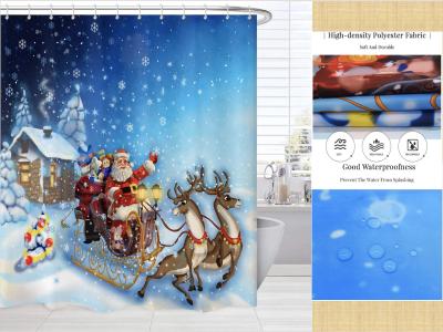Cortinas de ducha de Navidad, Cortina de ducha Trineo de Renos de Navidad, Accesorios de baño de tela de Navidad, Cortina de ducha de alce de trineo de Navidad, Tela impermeable resistente al moho