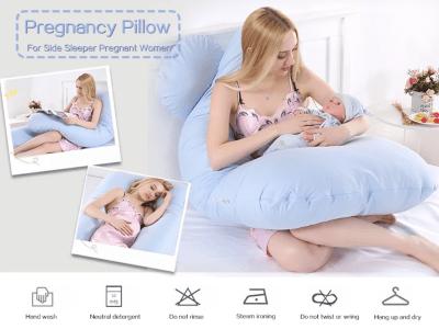 Almohada Embarazo Multifuncional para Mujeres Embarazadas para dormir de lado. Algodón. Relleno Interior Seguro. Extremo Curvo. Talla grande. Parte interna de extracción, Cremallera