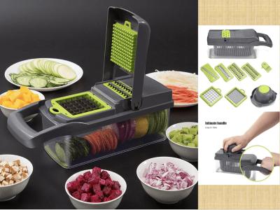 Cortador multifunción de frutas y verduras, cortador de alimentos. 7 moldes para cortar diferentes formas. Mango íntimo, fácil de llevar. Verduras que se pueden remojar. Fácil de limpiar