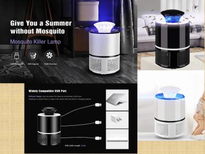 Lámpara Mata Mosquitos Electrónica. Exterminador de Insectos. Alimentado por USB. Sensación de Tranquilidad. 35dB, bajo decibelio. Día y noche, Matar mosquitos continua. 2 colores disponibles
