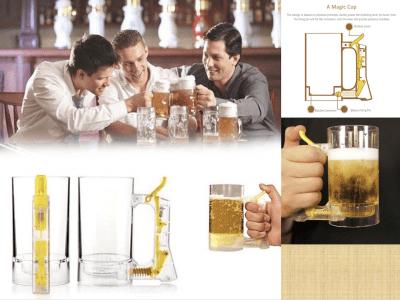 Vaso Plástico Transparente Cerveza. Jarra Cerveza Burbujas Espuma. Disfrute su Tiempo para Beber. Una taza Mágica. Taza Gran Calidad. Sirve cerveza perfecta, en cualquier momento, en cualquier lugar