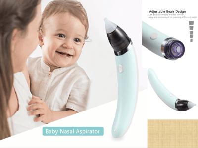 Aspirador nasal para bebés, limpiador de nariz eléctrico, equipo inhalar para niños. Suave y agradable a la piel. Cinco marchas ajustables. Fácil de limpiar. Boquilla de succión de silicona