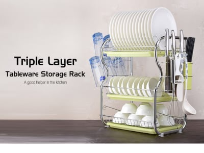 El estante de almacenamiento de cocina más nuevo para lavar, platos, vasos. Triple capa. Un buen ayudante en la cocina. Limpio y transpirable. Acero inoxidable. 2 colores disponibles
