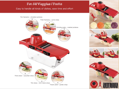 Cortador Patatas Multifuncional. Cortador de Frutas y Verduras. Herramienta Mágica de Cocina. 6 cuchillas intercambiables para diferentes necesidades. Fácil de utilizar, ahorra tiempo y esfuerzo