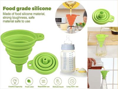 Juego de 2 piezas, embudo de silicona plegable. Tolva flexible. Material de silicona de grado alimenticio. Fácil de guardar. Súper cómodo de usarlo