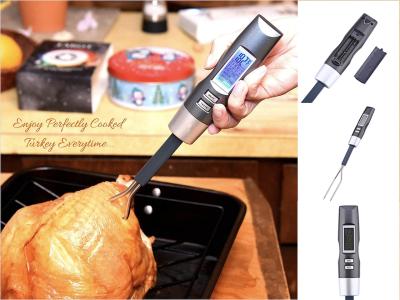 Termómetro electrónico digital para carne,. Sonda de tenedor para barbacoa. Termómetro con sonda de horquilla, detector preciso para hacer una carne sabrosa. Acero inoxidable 304. Pantalla digital LCD