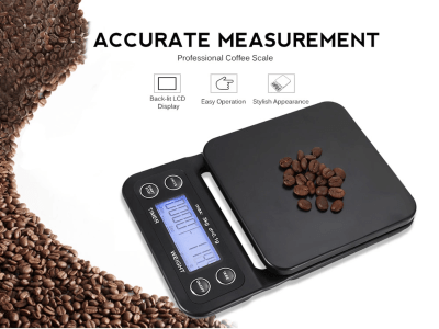 Balanza Digital de Cocina para Alimentos y Café + Temporizador con Pantalla LCD Retroiluminada. Operación fácil. Indicación inteligente. Almohadilla antideslizante y aislamiento térmico. Profesional