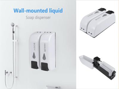 Dispensador de champú, baño para ducha. Montaje en pared. Cabeza doble. Dispensador de jabón. Carcasa alta calidad. Gran capacidad. Fácil montar y separar para su uso. Dispensador de jabón de manos