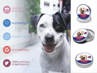 Collar Impermeable Antipulgas para Perro, Protección de 6 meses, Perros de todos los Tamaños, 100% Seguro para su Perro, Resistente al Agua, Libre de Alergias