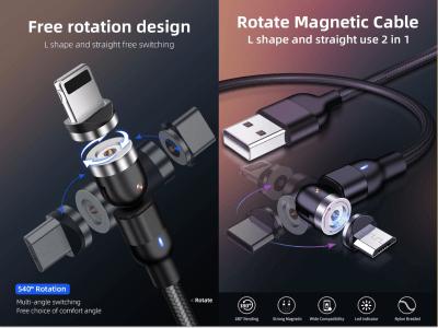 Cable magnético USB, Cable de Datos Magnético de Carga Rápida Trenzado de Nailon 3A, Cargador de Teléfono Magnético Universal 3 en 1 Compatible con Dispositivos Micro USB, Tipo C, i-Producto, 2 metros