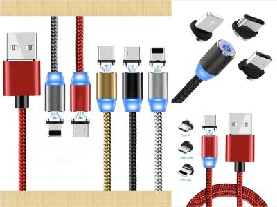 Cable de Carga USB Magnético Micro USB, Tipo C, Iluminación con LED, Cargador de Cable Multi 3 en 1 para Teléfono Android e IOS, Adaptadores de Carga Múltiples. Carga rápida