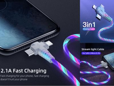 Cable 3 en 1 con Iluminación LED, Carga Rápida, Accesorio para Teléfonos Móviles de Alta Calidad, Cable USB Tipo C, Cable USB-C, Compatible con Android e IOS, 4 Colores Disponibles