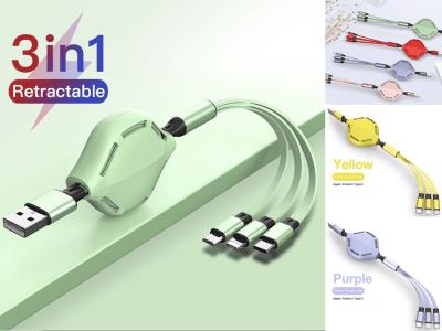 Cable Retráctil Alta Calidad 3 en 1, Carga Rápida, Cable 3 Cargas, Utiliza Android/iPhone/Tipo C, Silicona Duradera, Ligero, Pequeño, Fácil Transportar, una sola Línea Carga 3 Dispositivos Diferentes