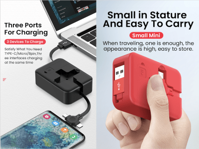 Compact Box with High Quality Retractable Cable 3 in 1, Quick Charge, Cable Charges 3 uses Android, iPhone, Type C, Light and Small, Easy to carry, A single line charges 3 different devices