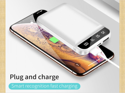15000Mah Portable Battery, Small, Large Capacity, Easy to Carry, Plug and Play without Buttons, Android and iPhone Compatible, LED Display, Quick Charge, 4 Colors Available