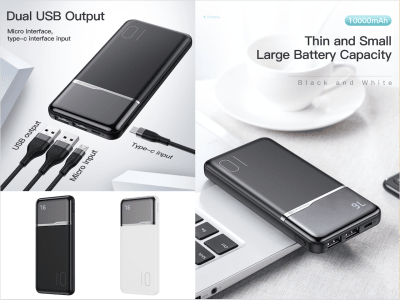 Portable Battery 10000Mah, Small, Large Capacity, Data Real Charge not Fake, Easy to carry, Plug and Play without buttons, Charge 3 devices at the same time, Android and iPhone, 4 Colors Available
