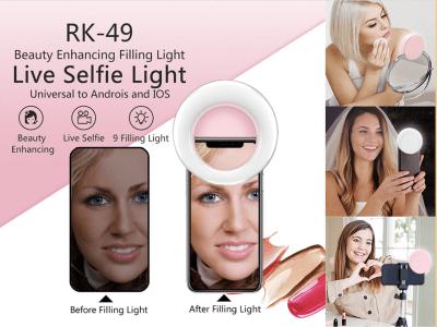 Anillo Luz Selfie, Clip recargable y portátil, 3 Colores LED y 3 Niveles de brillo para fotografía de teléfonos inteligentes iPhone / Android, Cámara de video, Maquillaje, etc. Profesional