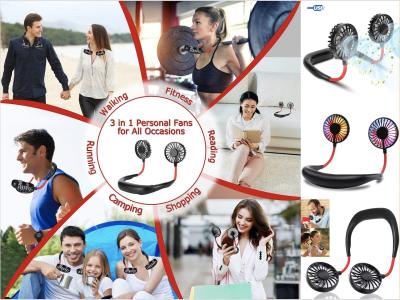 Ventilador para colgar en el cuello, Portátil, Manos Libres, Deportivos, Recargable USB, Primera Calidad, Banda para el cuello, Oficina, Exteriores, Viajes, Rotación de 360º, 3 Velocidades