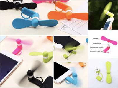 Ventilador para Teléfono Móvil USB, Tipo C, Mini Ventilador Eléctrico de Mano, Base Portátil, Adecuado para Android y iPhone, Pequeño, Portátil, Ideal para Verano, USB LED con Batería y Luz