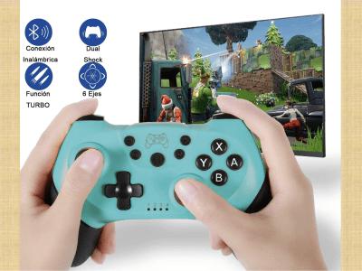 Controlador Inalámbrico Nintendo Switch, Gamepad para Switch Lite-Joy, Controlador con función Turbo Dual Vibration, Compatible con todos los juegos Switch y PC, Dual Shock, Batería de 500mah incluida
