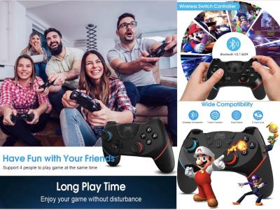 Mando Nintendo Switch, Controlador Inalámbrico para Nintendo Switch, con Turbo, Giroscopio de 6 ejes, Sensor de Movimiento y Doble Shick, Batería Recargable 500mah, 4-5 horas uso
