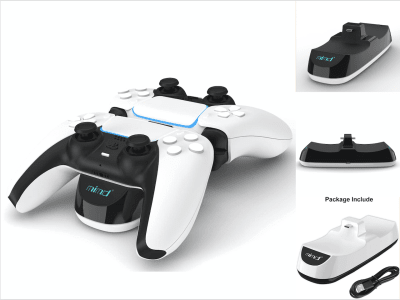 Cargador de Mandos PS5, Cargador Inalámbrico USB para 2 mandos, Carga Rápida PS5 para Sony PlayStation 5, Estación de Carga con Indicador LED para DualSense 5, Chip Protector, Carga Rápida y Segura