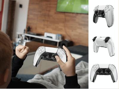 Carcasa Protector Transparente para Controlador PS5, Antideslizante, sin Interferencias, Funda Protectora para PS5, Protección completa para mando PlayStation 5, Mantenga su Mando en perfecto estado