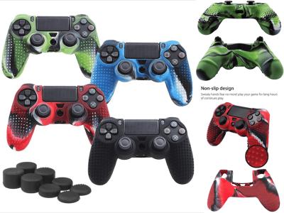 Juego de Fundas de Silicona para Mandos PS4, Antideslizantes, Compatible con Mandos PS4 / Slim / PRO. Agarre mejorado, (Cubierta - Mando x 1 + Empuñaduras para el Pulgar FPS PRO x 8), Alta calidad