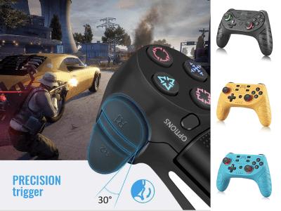Controlador PS4 Bluetooth Inalámbrico con luces LED para PS4, SLIM, PRO, PC Windows, Gatillo de precisión, Vibración motor doble, 3 colores disponibles, Tiempo de reproducción 6 horas, Batería 500mah