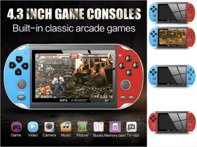 Consola juegos portátil, 300 juegos gratuitos incorporados, 8GB, Reproductor Multimedia con pantalla TFT de 4.3'' con salida de TV, compatible con cámara, Portátil, Recargable, Juegos GBA / GBC / SFC