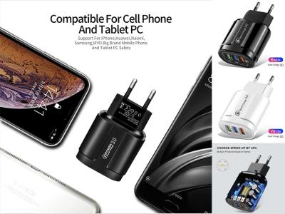 3 puertos USB QC 3.0, Cargador de Pared, Carga Rápida, Elije el Cargador adecuado EE. UU., UE, Enchufe, Potencia de salida 18w, Ahorro de tiempo de carga 40%, Alta calidad, Chip Protección Múltiple