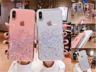 Funda Silicona de Lujo para iPhone, Efecto Cristal con Estrellas brillantes, elija su modelo de iPhone, Sin problemas de amarilleo, Duradero, Resistente al desgaste, Antihuellas, 4 Colores Disponibles