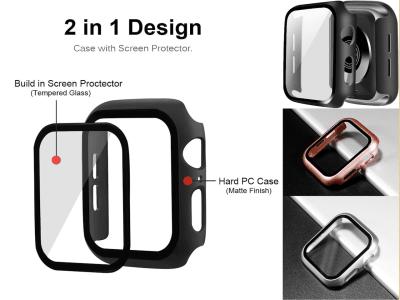 Funda Protector 2 en 1 iWatch Series 5/4/3/2, con Protector de Pantalla de Vidrio Templado para iWatch, 38/40/42/42mm, Material de PC de Alta Calidad + Película Templada, 9 Colores Disponibles