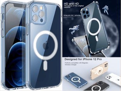 Funda Magnética Transparente para iPhone 12/12 Pro, Carga Mag-Safe, Parte Posterior Dura Slim, Cubierta Parachoques de Silicona Suave de TPU, Funda de Protección Antiamarilleo, Delgado y Liviano