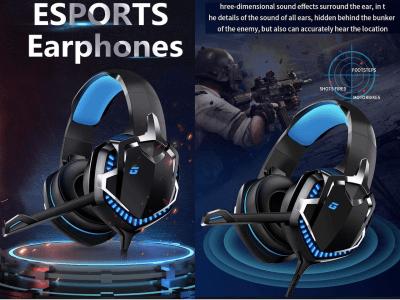 Auriculares Profesionales para Juegos con Micrófono, Reducción Ruido Oreja para PS4 / Xbox One / PC / Nintendo Switch / Laptop / Tablet, Luz LED, Sonido Evolvente, Bluetooth 5.0, impermeable IPX6