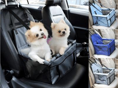 Bolsa Asiento Coche ideal Perros y Gatos, Seguridad Mascotas, Trasportines para Animales Pequeños, Cinturón de Seguridad, Proteja su vehículo, Impermeable, Transpirable, Sostenible, Funda extraíble