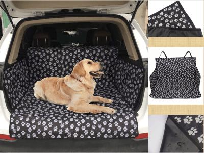 Manta Impermeable para Perros y Gatos, Diseño de Huella, Color Negra, Funda para Maletero, Manta para Mascotas, Proteja su vehículo, Antideslizante