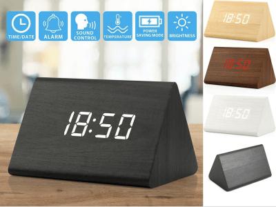 Despertador de madera electrónico activado por voz. Tres juegos de ajuste del reloj de alarma. Temperatura, alarma y fecha