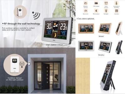 Estación meteorológica. Temperatura interior, exterior. Cargador USB. Despertador. RF a través de tecnología de pared. Sensor exterior en la pared exterior. Como alarma diaria. 2 colores disponibles
