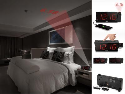 Despertador digital de proyección regulable con radio. Proyección de reloj. Configure su radio FM favorita. Configure una alarma dual. Carga rápida. Batería de respaldo