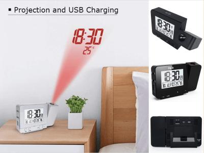 Reloj despertador de proyección digital. Sincronización de temperatura y hora con pantalla LCD. Proyección y carga USB. Posible batería. 4 niveles seleccionable con cable de alimentación