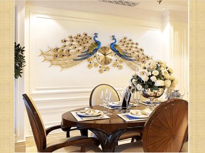 Reloj de pared creativo, moda china, forma de pavo real. Reloj de pared, decora tu salón. Reloj europeo. Batería AA. Increíble Calidad dará a su casa un toque elegante