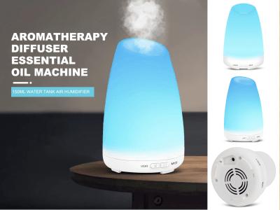 Difusor Aceite Esencial Aromaterapia 150ml. Depósito Agua. Humidificador Aire. Ruido bajo. 2 modos Trabajo. Apto para hogar, oficina, dormitorio. Material PP sin BPA. LED cambiante de 7 colores