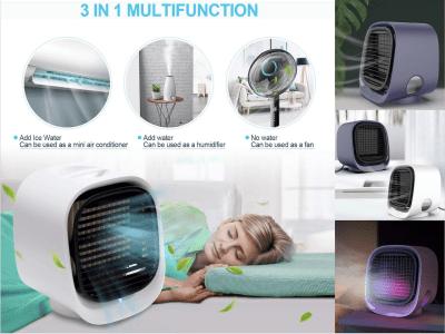 Mini Ventilador Refrigeración para Hogar, Aire Acondicionado de Escritorio Pequeño. Enfríe rápidamente y libere iones negativos. Silencioso, Duerme Rranquilo. Ventilador 5m/s. Enfriar 3-5ºC