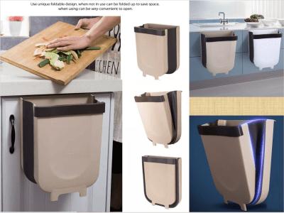 Bote de basura plegable para colgar en la cocina. Hogar. Ahorra espacio. Gran capacidad. Amplia aplicación: dormitorio, cocina, baño, coche, etc. Práctico cubo de basura plegable