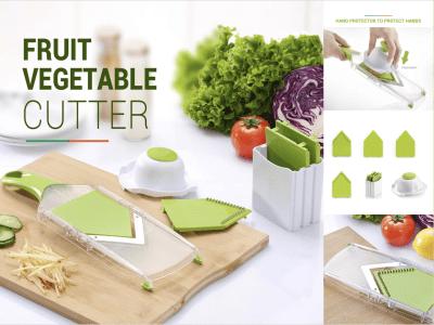 Cortador de verduras multifuncional para el hogar Herramienta de corte de frutas y verduras de cocina. Protector de manos. Cortadora fina y rugosa. Dos almohadillas de gel de sílice anti-deslizamiento